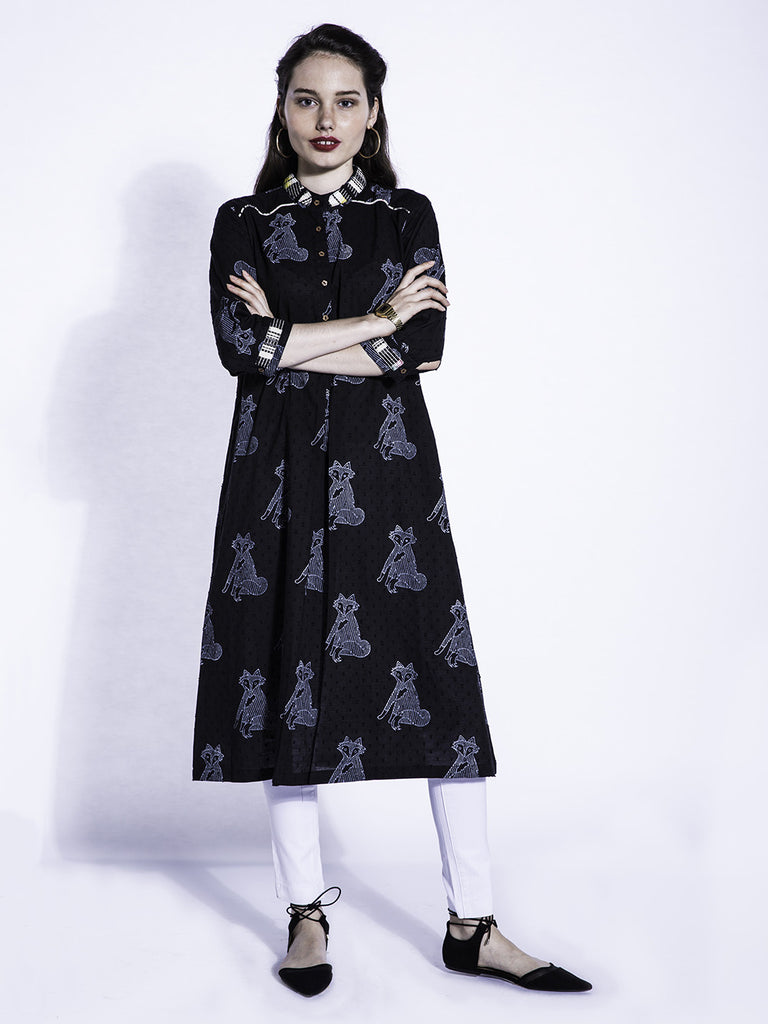 Black White Cotton Fox Kurta