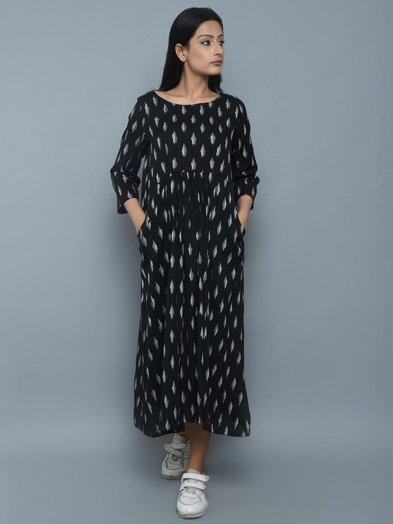 Black White Cotton Ikat Dress