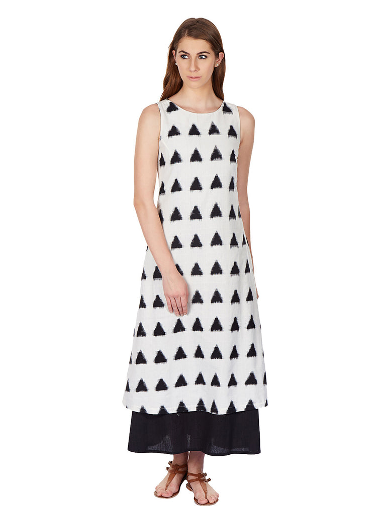Black White Cotton Ikat Maxi