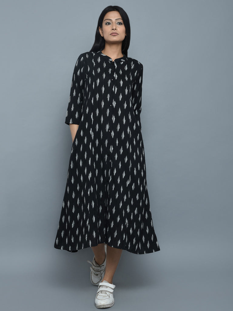 Black White Cotton Ikat Shirt Dress