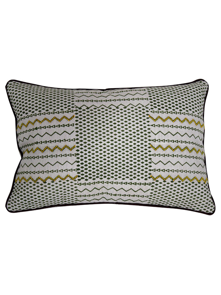 Green Silver Metallic Cotton Slub Block Printed and Embroidered Cushion Cover