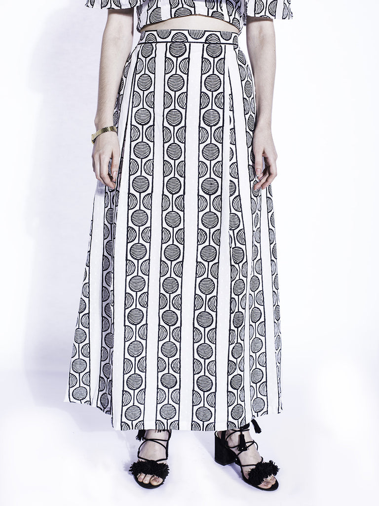 Black White Cotton Swahili Skirt