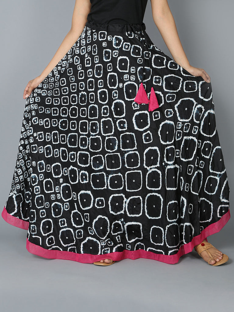 Black White Silk Ring Skirt