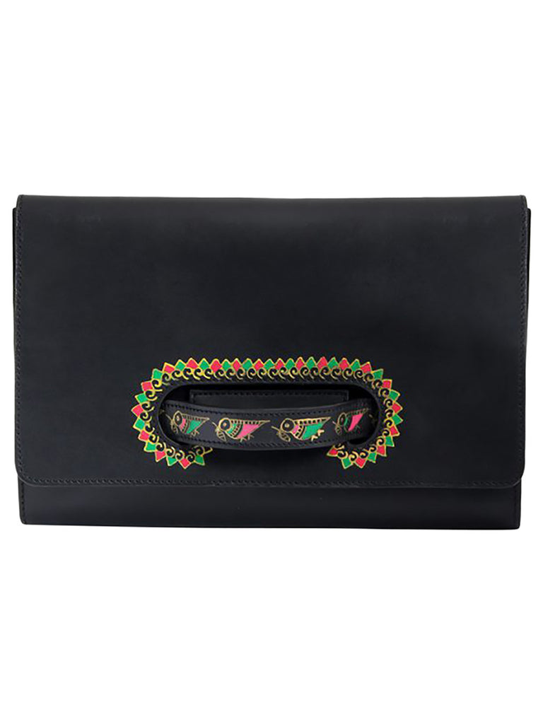 Black Leather Handheld Envelop Clutch