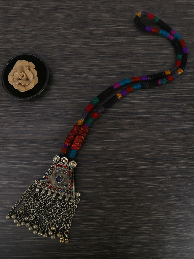 Multi Color Chord Necklace with Pendant