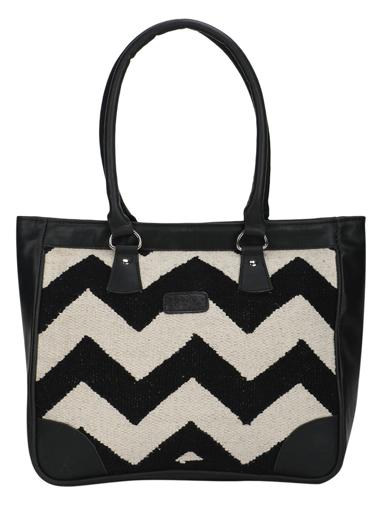 Black and White Kilim Faux Leather Tote Bag
