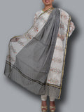 Black-White Block Printed Chanderi Dupatta