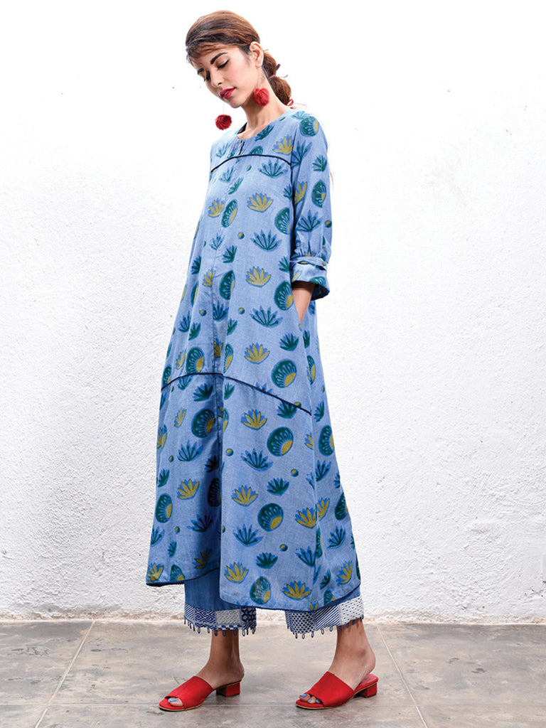 Blue Anti-Fit Hand Block Printed Kurta
