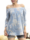 Blue Bird Printed Off Shoulder Cotton Top
