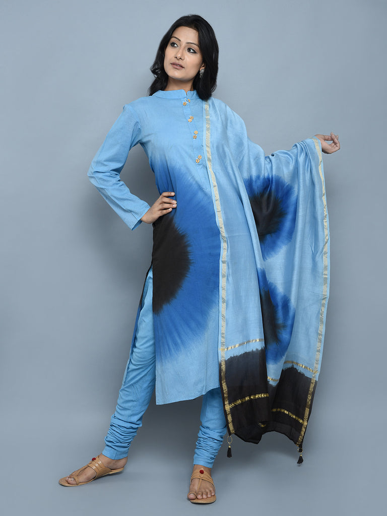 Sky Blue Cotton Tie and Dye Straight Kurta with Churidar and Dupatta - Set of 3