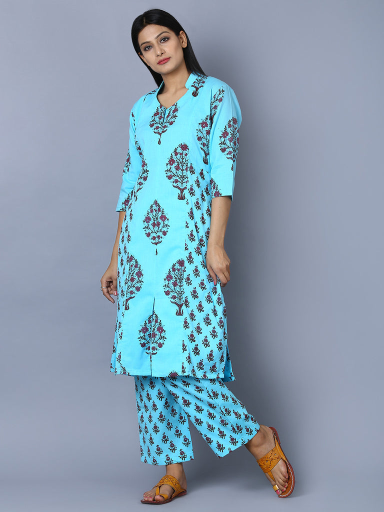 Blue Block Printed Straight Cut Cotton Mul Kurta