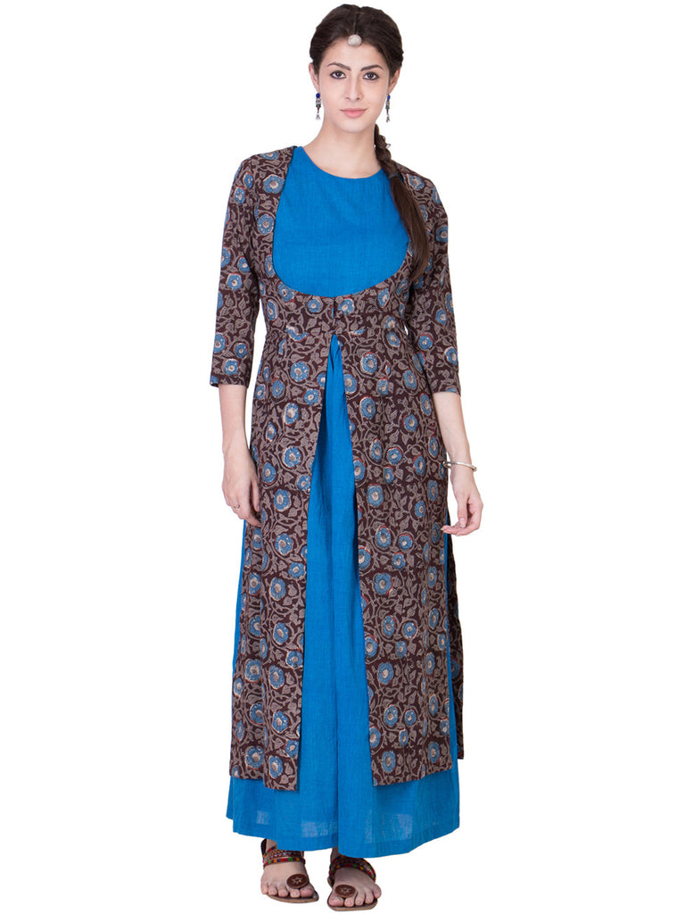 Blue Brown Block Printed Cotton Wrap with a Mangalgiri Inner