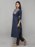 Blue Chanderi Brocade Yoked Kurta with Cotton Slip