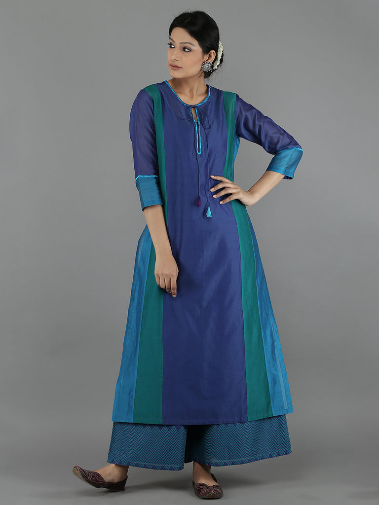Blue Chanderi Color Block Kurta with Cotton Slip