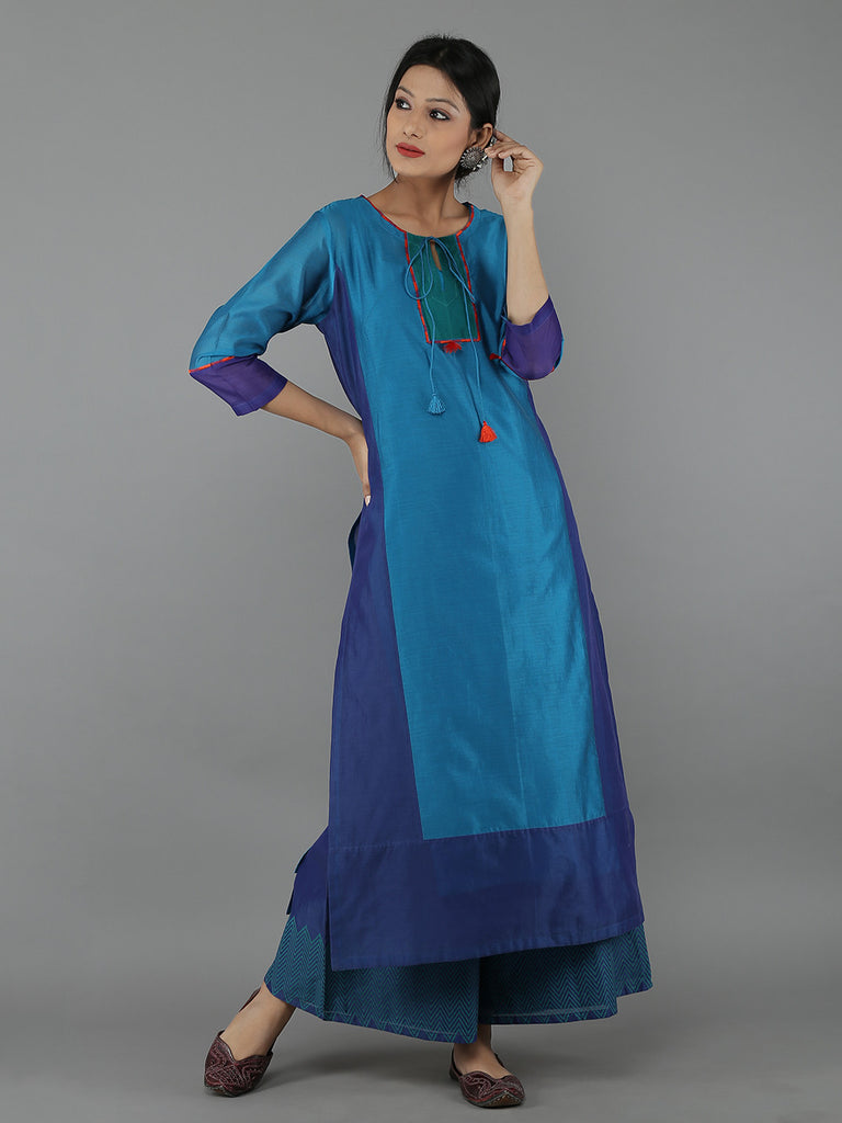 Blue Chanderi Color Block Straight Kurta with Cotton Slip