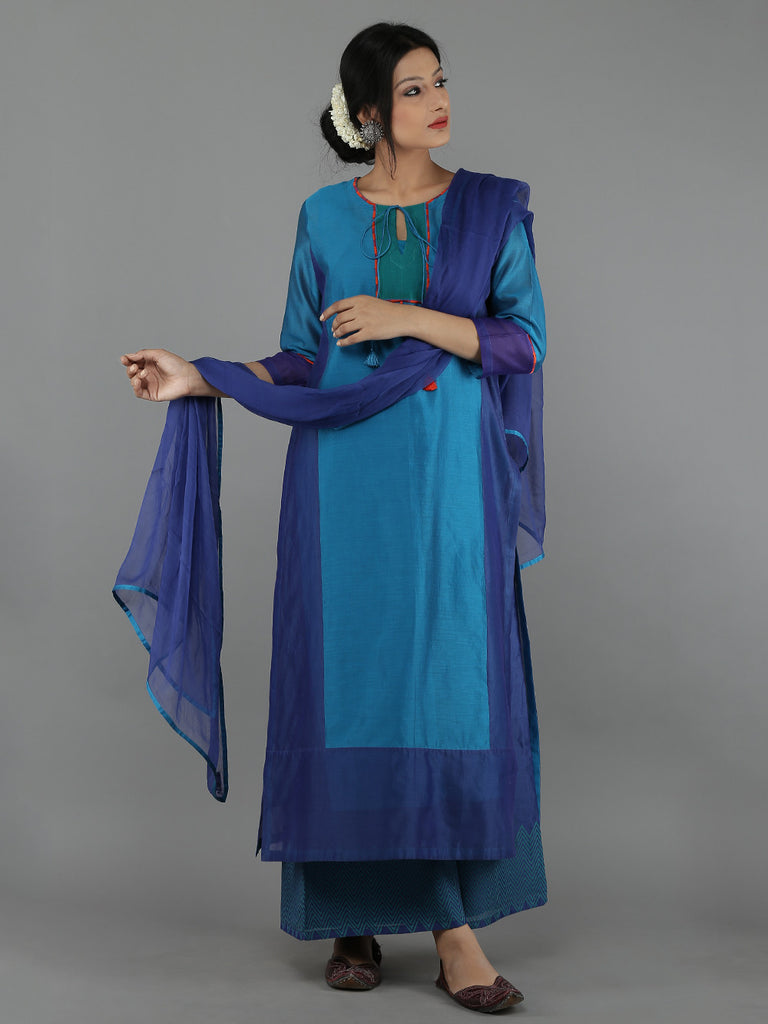 Purple Blue Chanderi Chiffon Suit - Set of 4
