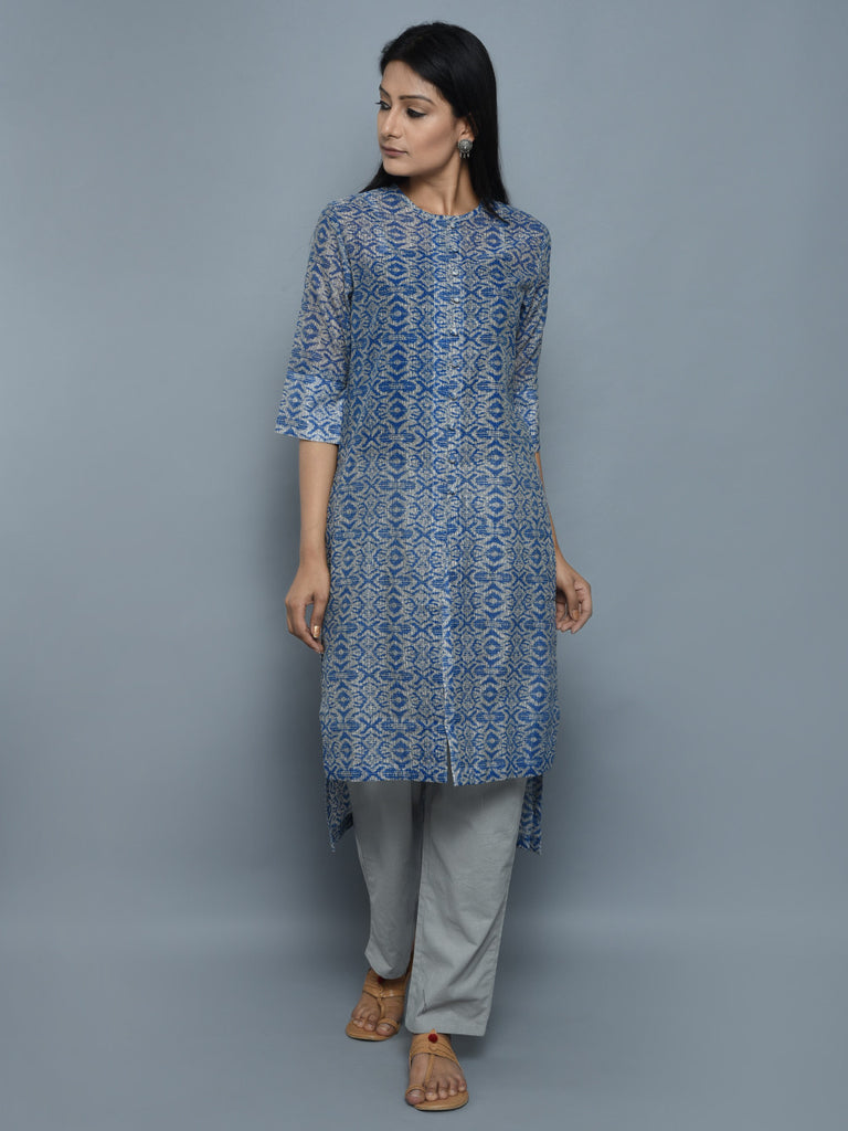 Blue Grey Chanderi High Low Hem Shirt Kurta