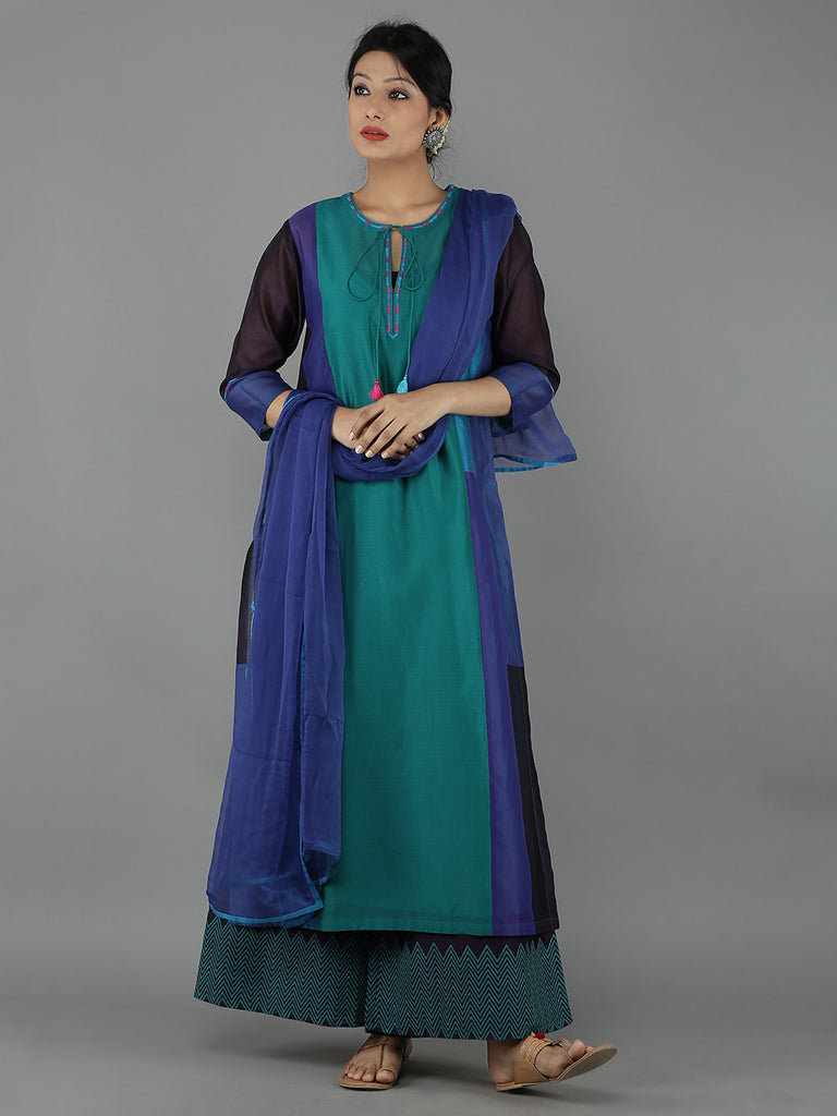 Blue Chanderi Kurta and Aubergine Palazzo with Purple Chiffon Dupatta - Set of 4