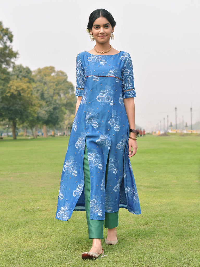 Blue Chanderi Kurta with Cotton Silk Trousers - Set of 2