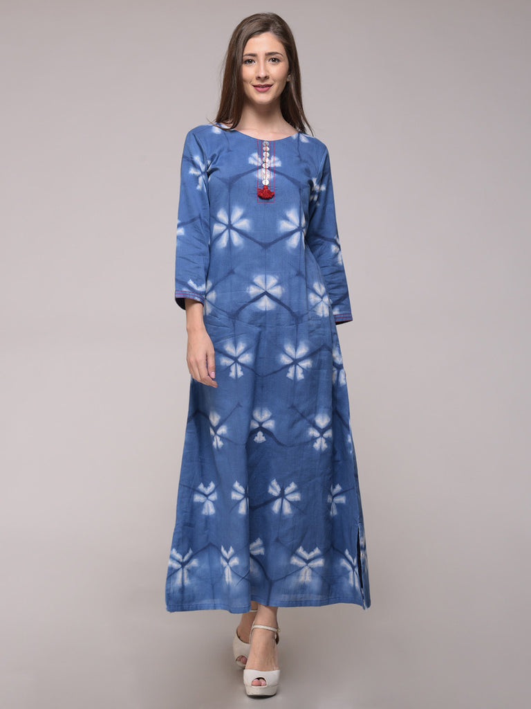 Blue Clamp Dyed Cotton A Line Dress