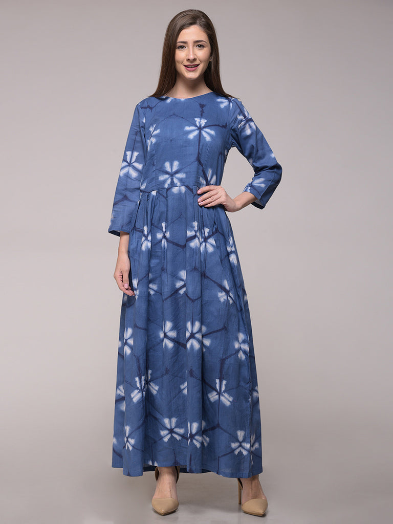 Blue Clamp Dyed Pleated Cotton Dress
