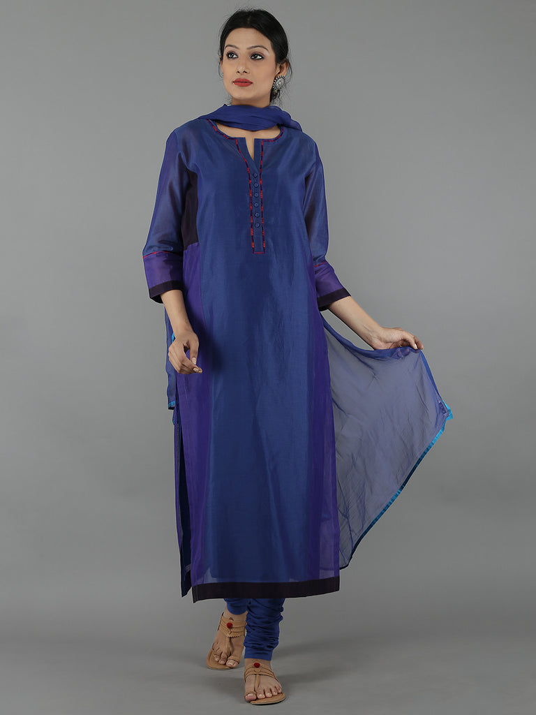 Blue Chanderi Kurta and Cambric Churidar with Chiffon Dupatta - Set of 4