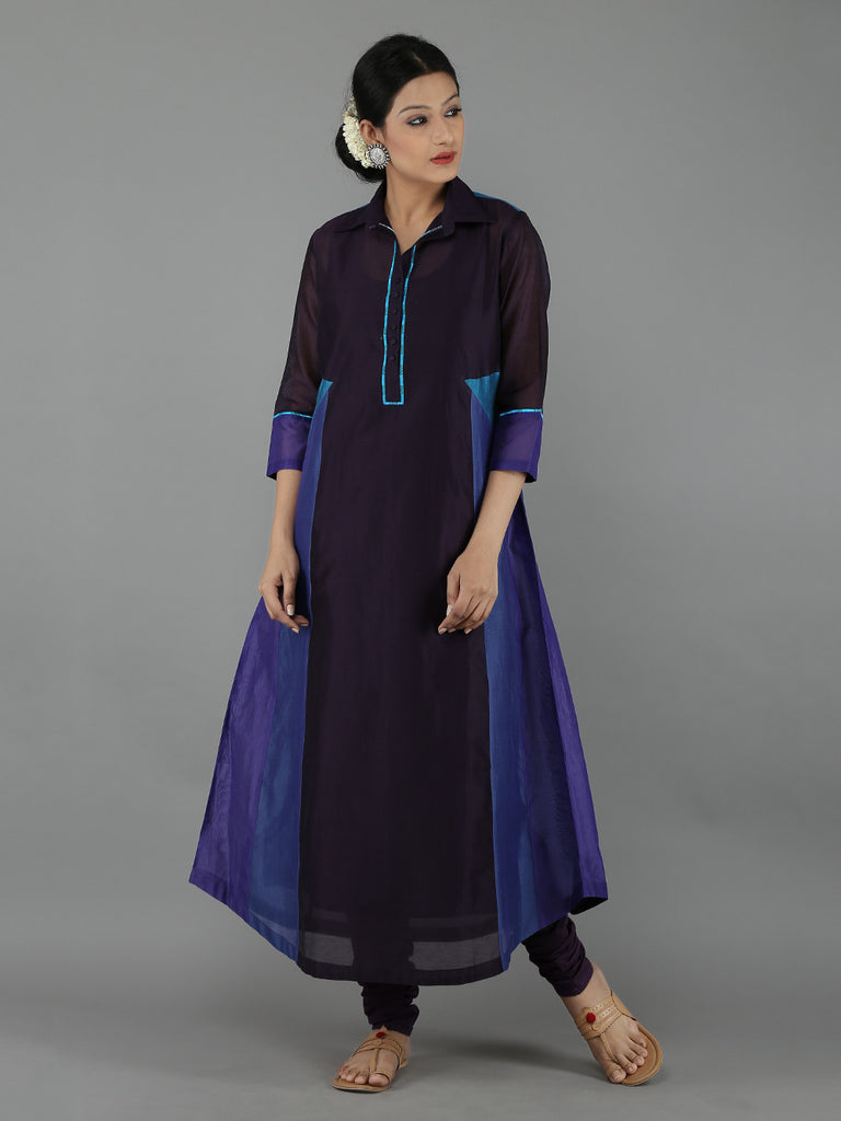 Blue Color Block Chanderi Kurta with Cotton Slip