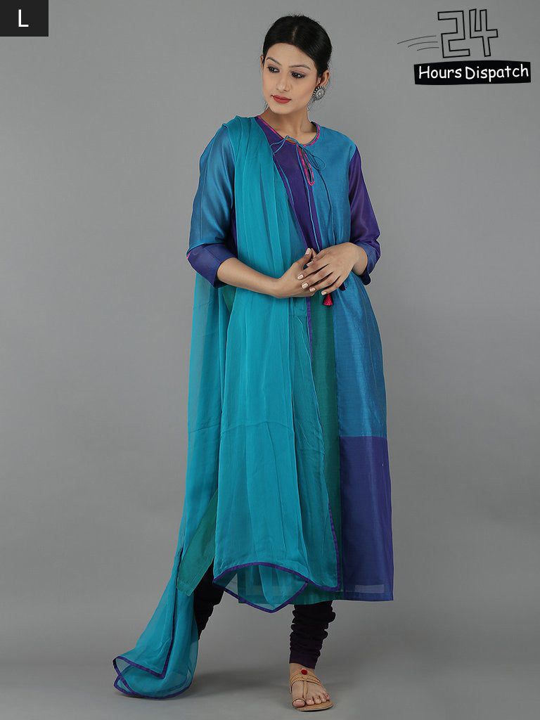 Blue Chanderi Kurta and Cambric Churidar with Turquoise Chiffon Dupatta - Set of 4
