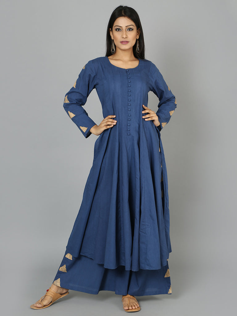 Blue Cotton Anarkali Kurta
