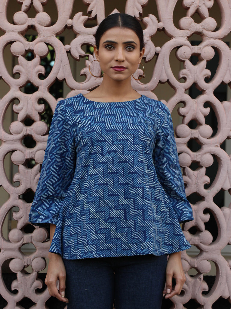 Blue Cotton Block Printed Flared Top