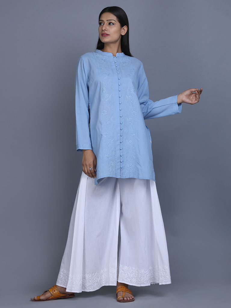 Blue Cotton Hand Embroidered Shirt Tunic