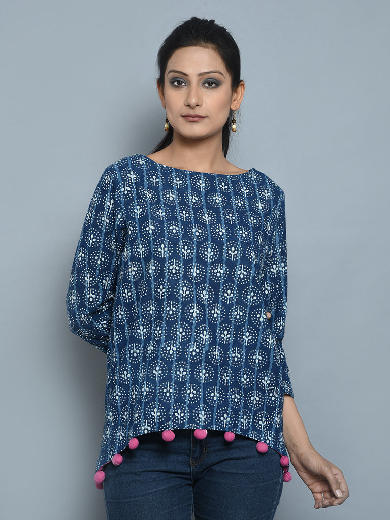 Blue Cotton Cambric Short Top