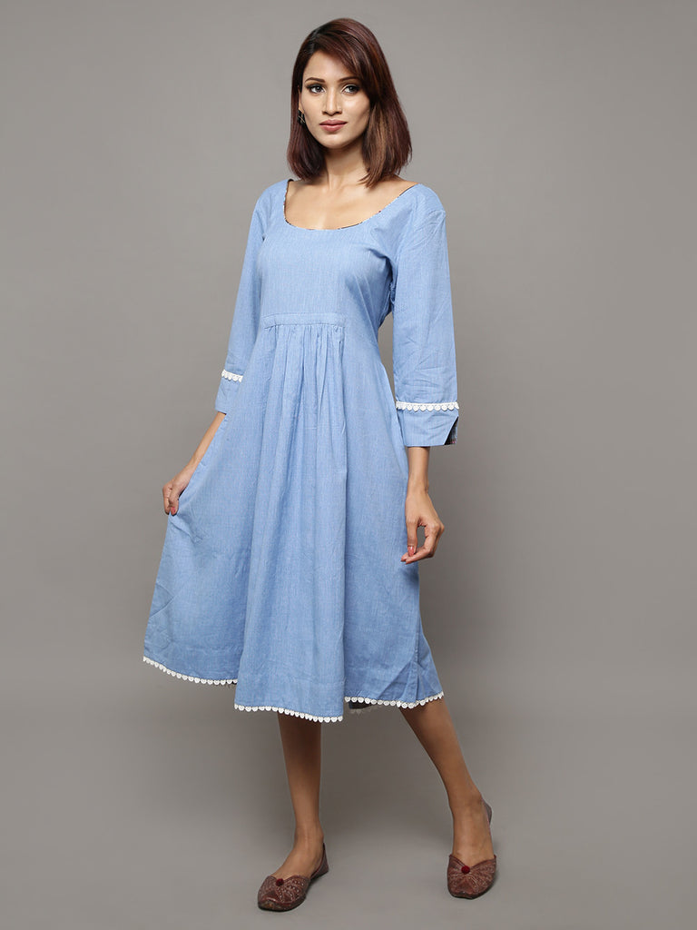 Blue Cotton Chambray Dress