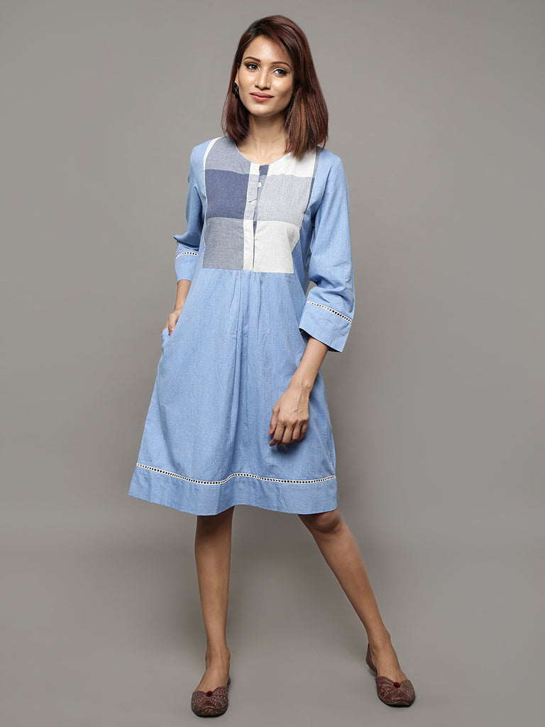 Blue Cotton Chambray Shift Dress