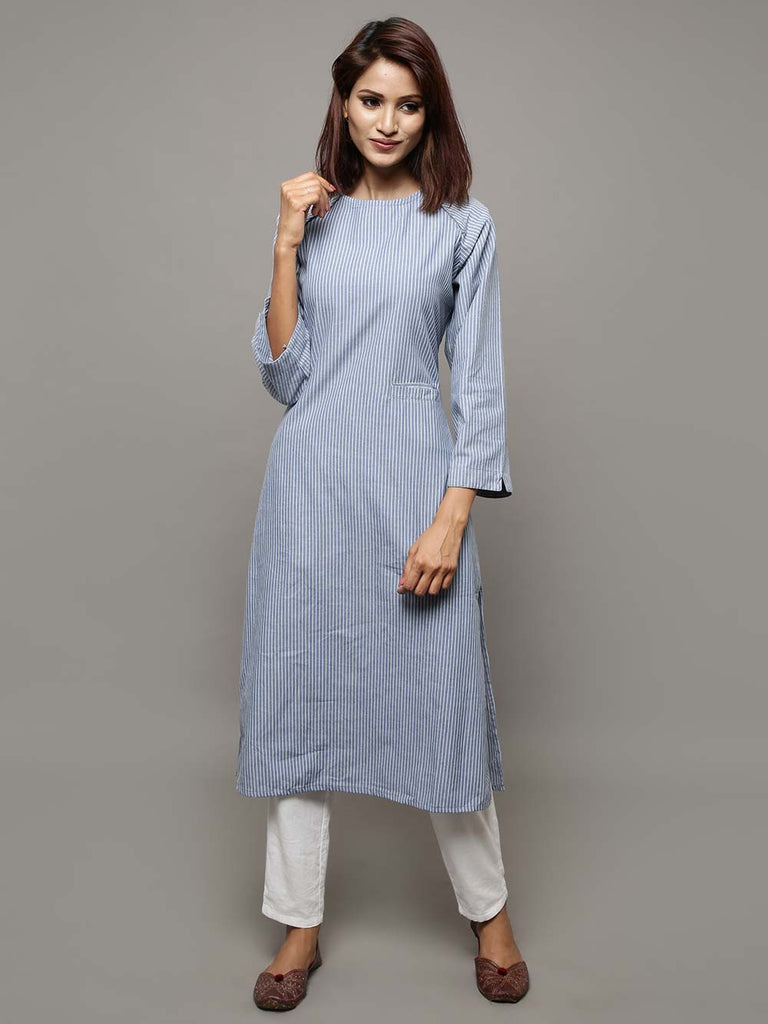 Blue Cotton Chambray Stripe Kurta