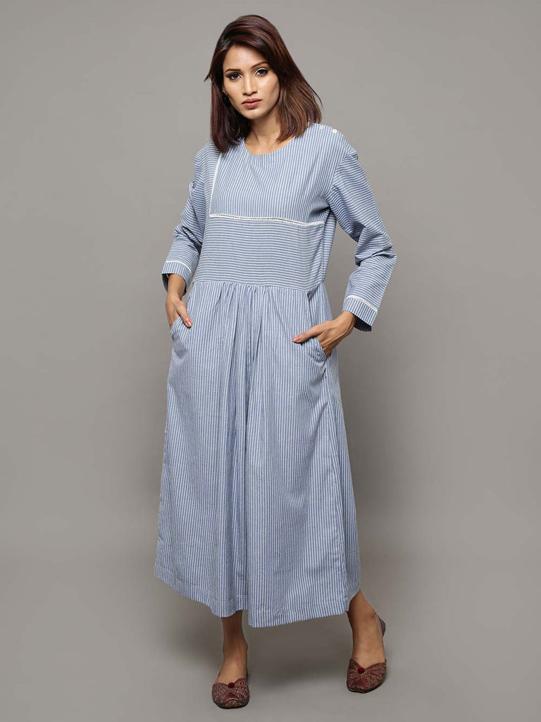 Blue Cotton Chambray Stripes Maxi Dress