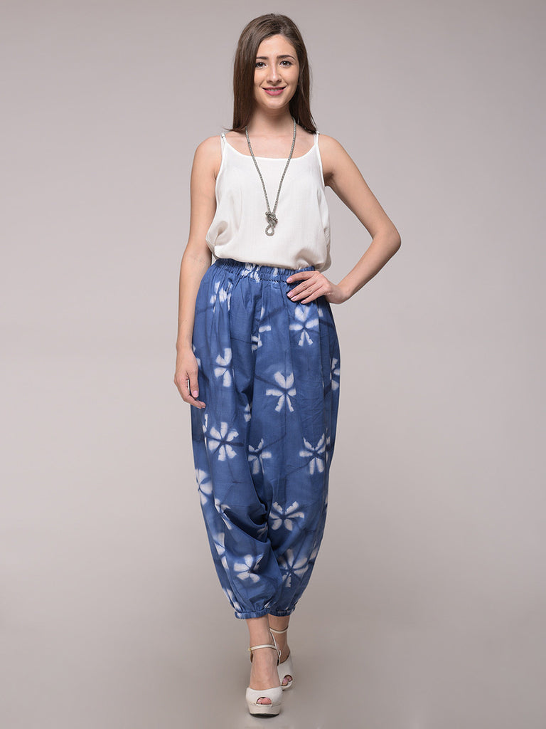 Blue Cotton Clamp Dyed Floral Harem Pants