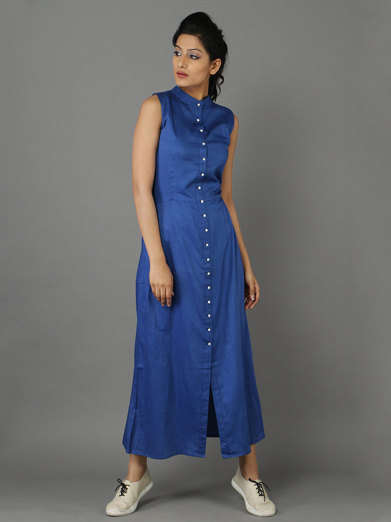 Blue Glaze Cotton Shirt Dress
