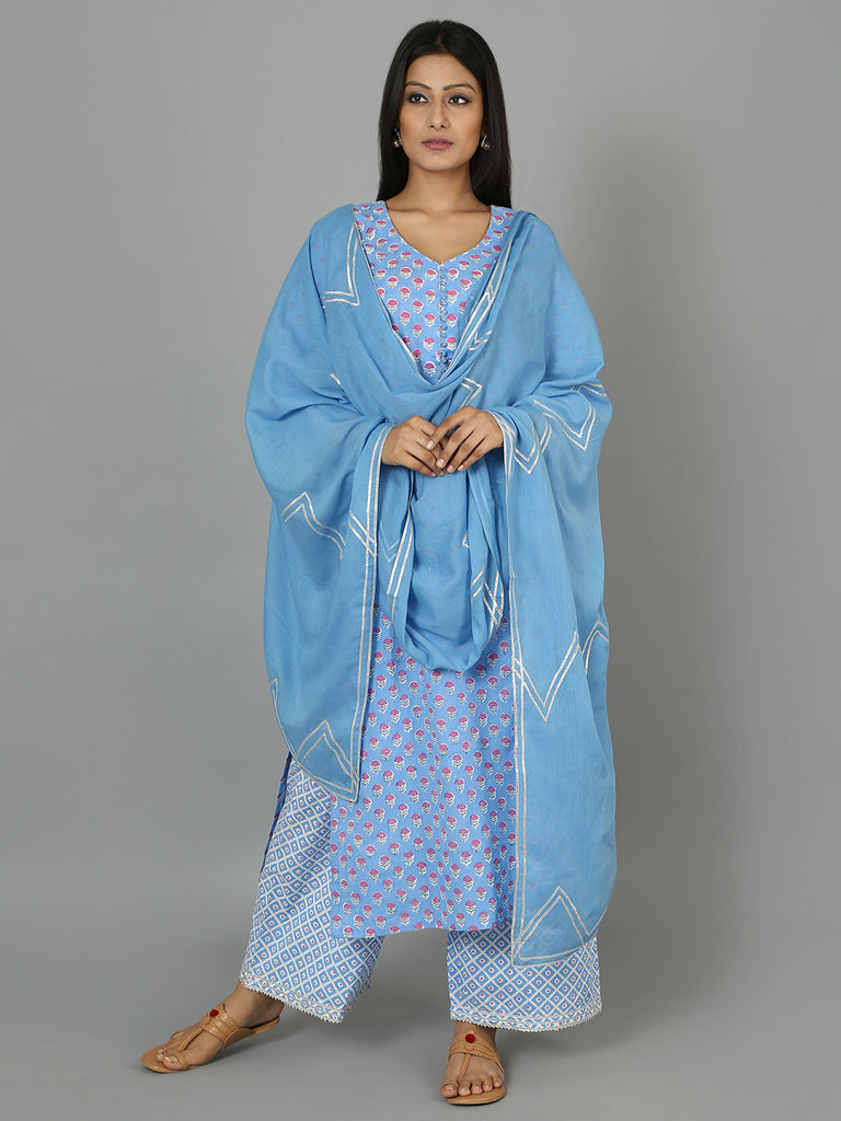 Blue Cotton Gota Dupatta