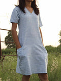 Blue Cotton Khadi Straight Dress