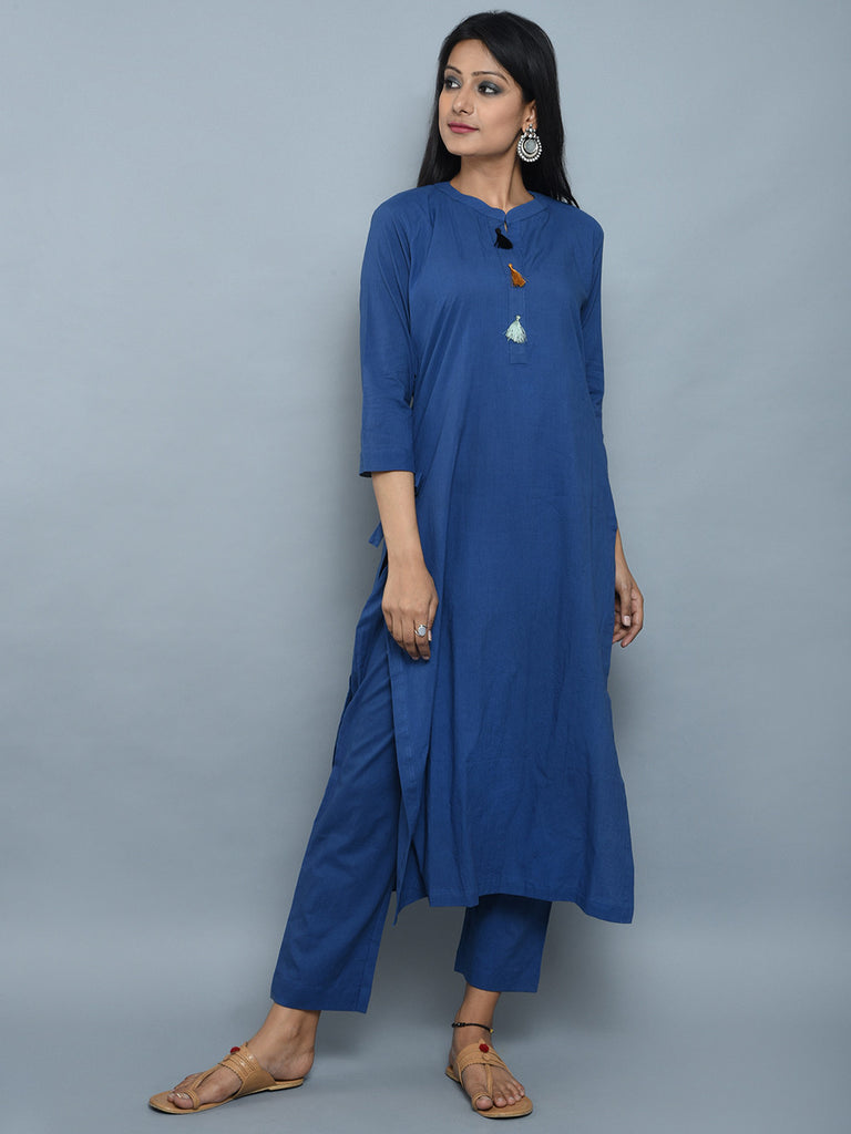 Blue Cotton Kurta with Multicolor Thread Tassels