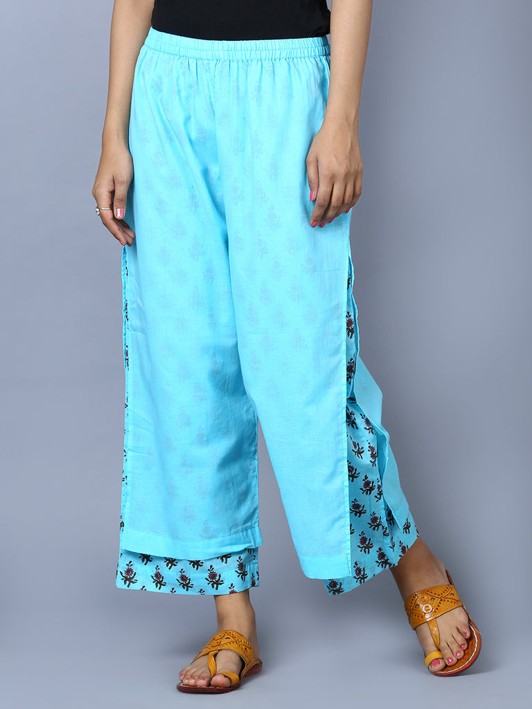 Blue Cotton Mul Block Printed Double Layer Pants