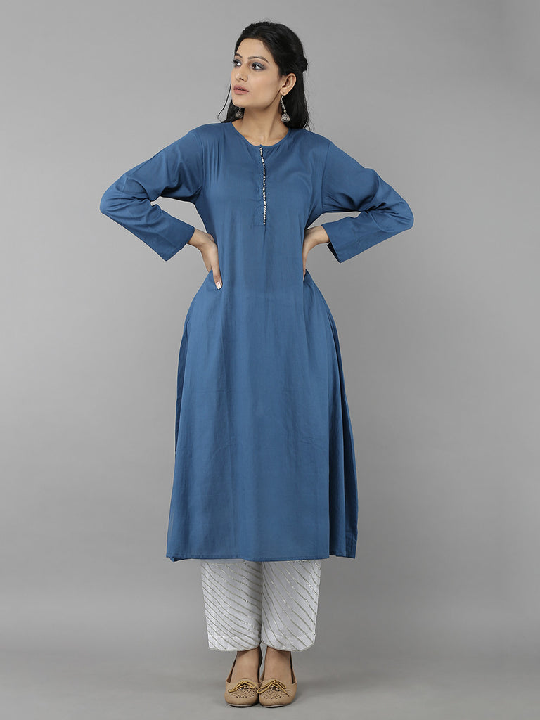 Blue Cotton Mul Ghunghru Kurta