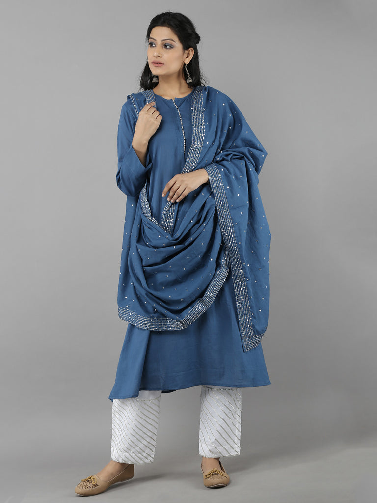 Blue Cotton Sitara Dupatta