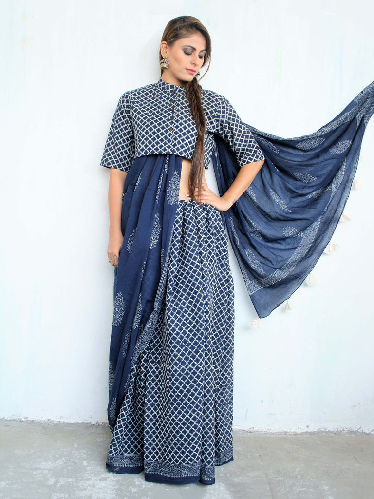 Blue Cotton Mul Hand Block Printed Saree
