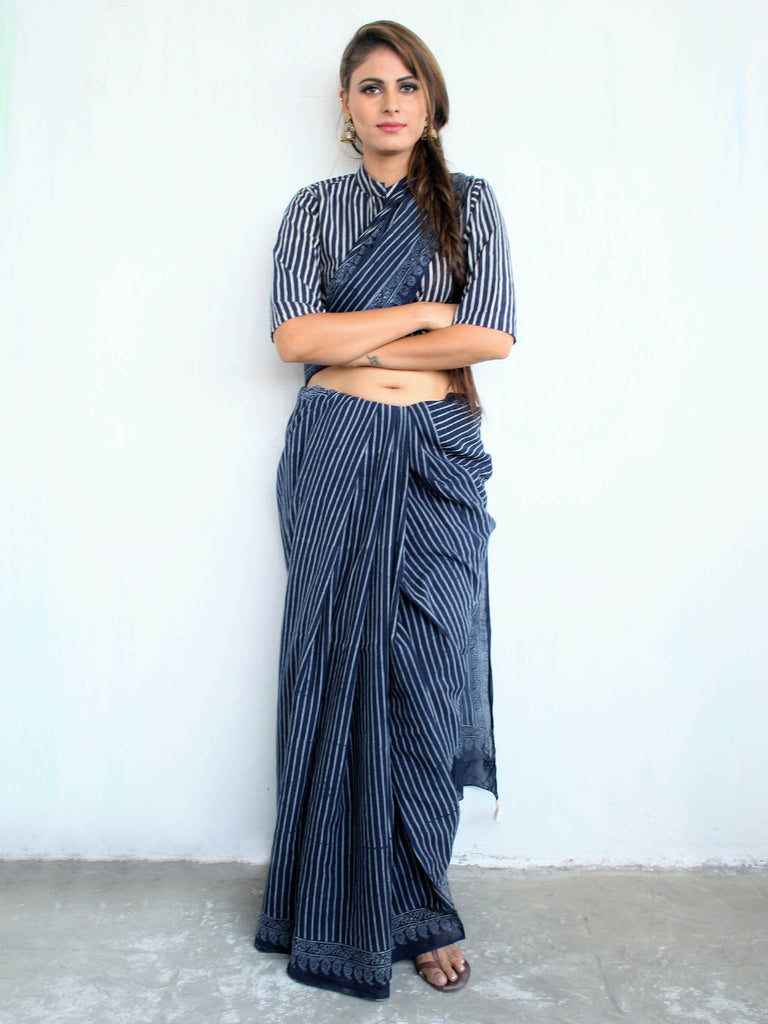 Blue Cotton Mul Hand Block Printed Stripe Saree
