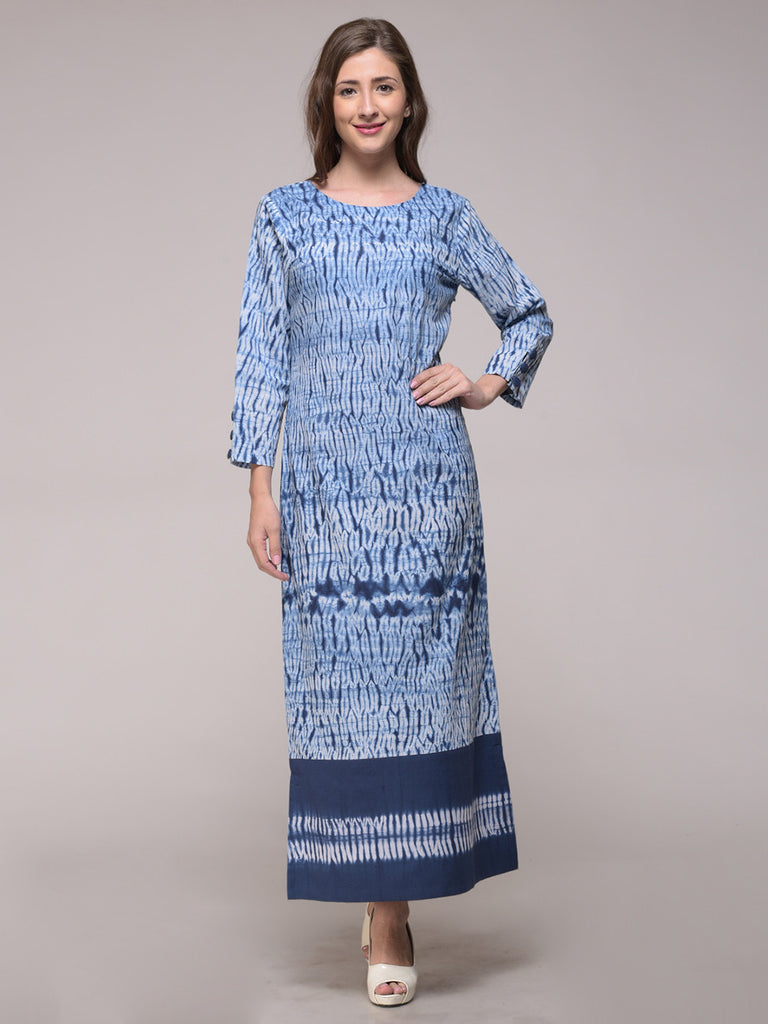 Blue Cotton Shibori Patch Slit Dress