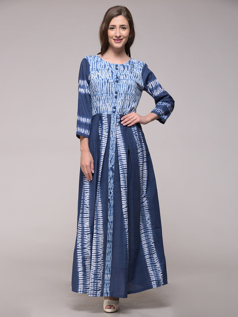 Blue Cotton Shibori Pleated Dress