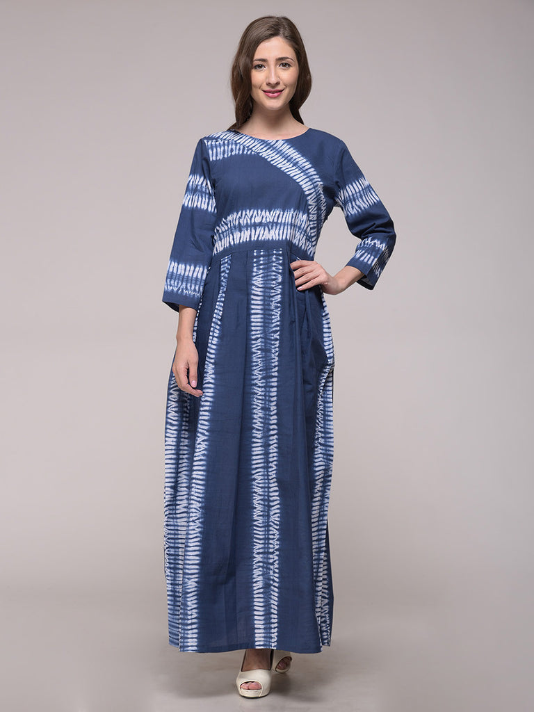 Blue Cotton Shibori Stripe Dress