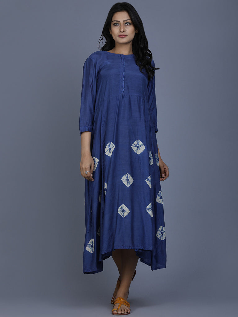 Blue Cotton Silk Bandhej Dress